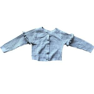 Girls Gap cropped cardigan with ruffled sleeves